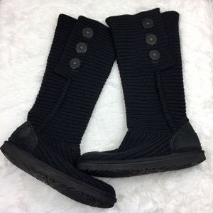 UGG Black Classic Cardy Sweater Boots 8